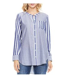 Vince Camuto Blue Mixed Pinstripe Button-down Tunic