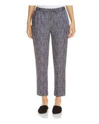 Eileen Fisher - Blue Printed Silk Drawstring Ankle Pants - Lyst