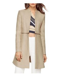 BCBGMAXAZRIA | Natural Arelia Zip Waist Canvas Coat | Lyst