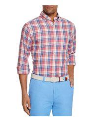 Vineyard Vines Red Massapequa Plaid Tucker Slim Fit Button-down Shirt for men