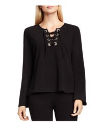 Vince Camuto | Black Bell Sleeve Lace-up Ponte Top | Lyst