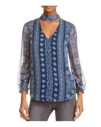 Ella Moss Blue Wayfare Printed Silk Top