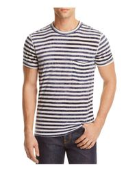 7 For All Mankind | Blue Tie Dyed Striped Tee for Men | Lyst