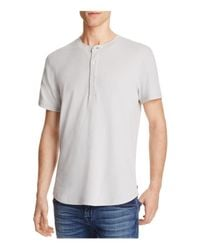 7 For All Mankind | Gray Thermal Short Sleeve Henley Tee for Men | Lyst
