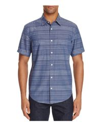 7 For All Mankind | Blue Stripe Chambray Regular Fit Button-down Shirt for Men | Lyst