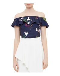 e7276673d0c270 Lyst - Ted Baker Tropical Oasis Off-the-shoulder Top in Blue