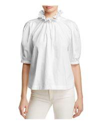 Rebecca Taylor | White Poplin Ruffle Collar Top | Lyst