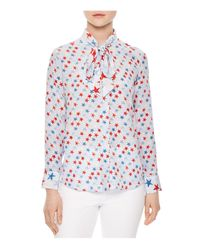 Sandro | Blue Space Tie-neck Printed Silk Shirt | Lyst