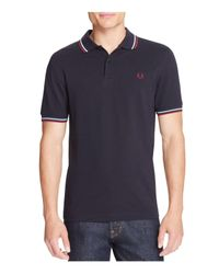 Fred Perry   Blue Tipped Logo Slim Fit Polo Shirt for Men   Lyst