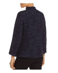 Eileen Fisher - Blue Stand Collar Open Front Jacket - Lyst