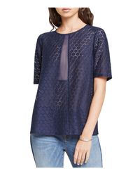 BCBGeneration | Blue Sheer Honeycomb Lace Top | Lyst