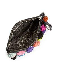 Loeffler Randall Black Pom Pom Tassel Leather Pouch