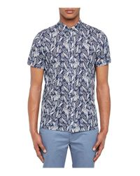 Ted Baker | Blue Leaf And Bird Printed Regular Fit Button-down Shirt for Men | Lyst