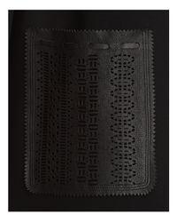 Elie Tahari Black Luma Leather Detail Coat