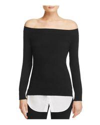 Aqua   Black Boat Neck Layered-look Sweater   Lyst
