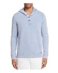 BOSS Orange - Blue Henley Hoodie Sweatshirt for Men - Lyst