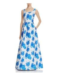 JS Collections Blue Floral Gown