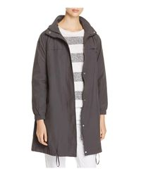 Eileen Fisher | Gray Hooded Stand Collar Jacket | Lyst