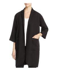 Eileen Fisher | Black Notch Collar Long Open Front Jacket | Lyst