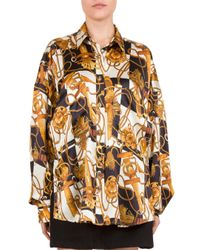 The Kooples Multicolor Long Checkerboard Silk Shirt With Classic Collar