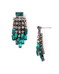 Aqua | Green Indiana Fringe Stud Earrings | Lyst