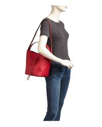 Furla Red Vittoria Drawstring Small Leather Bucket Bag