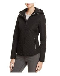 Calvin Klein | Black Hooded & Quilted Jacket | Lyst