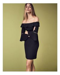 Elie Tahari Black Lucia Off-the-shoulder Dress
