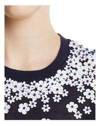 Tory Burch Blue Marygrace Embellished Sweater