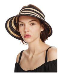 Bettina - Black Braided Straw Ribbon Stripe Visor - Lyst