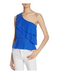 Olivaceous Blue Ruffled Georgette One Shoulder Top