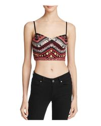 Guess | Black Liberty Embroidered Crop Top | Lyst