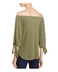 Aqua - Green Off-the-shoulder Tie Sleeve Top - Lyst