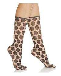 Hue   Natural Simply Skinny Dot Socks   Lyst