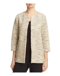 Eileen Fisher | Natural Textured Open Front Jacket | Lyst