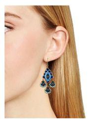Miguel Ases Blue Chandelier Drop Earrings