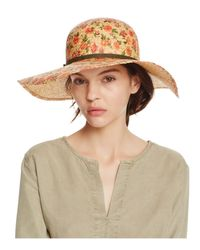 Bettina Natural Floral Print Straw Floppy Sun Hat With Ribbon Trim