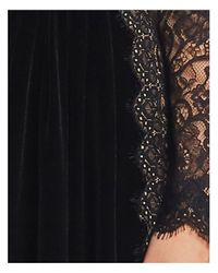 Tadashi Shoji Black Velvet Lace - Sleeve Gown