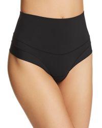 Yummie By Heather Thomson Black Tummie Tamers Mid Waist Thong Underwear