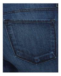Flying Monkey - Blue Released Raw Hem Skinny Jeans In Dark Wash - Lyst