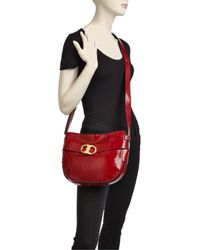 Tory Burch - Red Gemini Link Patent Leather Crossbody - Lyst