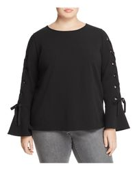 Vince Camuto Signature Black Lace-up Bell-sleeve Top