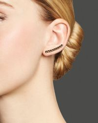 Zoe Chicco Pink 14k Rose Gold Ear Cuff With Black Diamonds