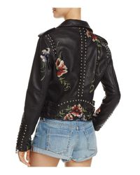 Blank NYC - Black Floral Embroidered Studded Faux Leather Moto Jacket - Lyst