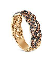 John Hardy Metallic 18k Yellow Gold Braided Chain Ring With Orange Sapphire