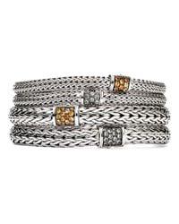 John Hardy Metallic Sterling Silver Classic Chain Extra Small Bracelet With Mixed Mandarin Garnet