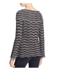 NIC+ZOE - Black Chevron Stripe Overlay Sweater - Lyst