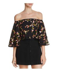 Olivaceous - Black Embroidered Off-the-shoulder Cropped Top - Lyst