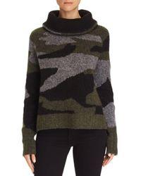 Aqua Multicolor Camo Cowl-neck Sweater