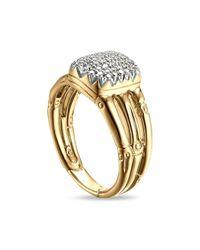 John Hardy - Metallic 18k Yellow Gold Bamboo Ring With Diamonds - Lyst